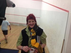 Our secretary Pat, still celebrating the Hawks win